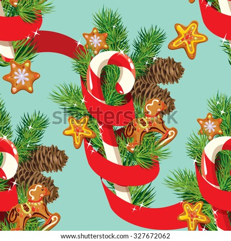 Seamless christmas pattern with  xmas gingerbread, candy, red ribbon and fir tree branches. Background for Christmas and New Year holidays design. - stock vector