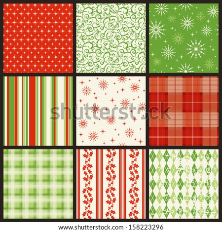 seamless christmas patterns - stock vector