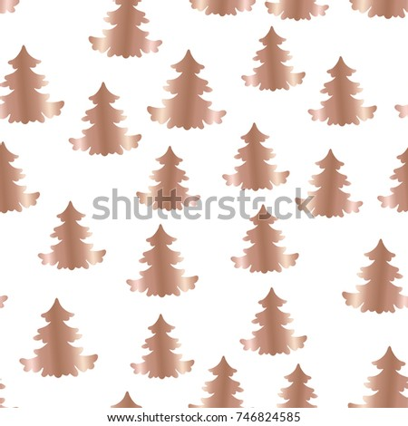 Seamless Christmas Rose Gold Tree On White Background For Print Paper Textile