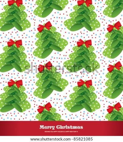 seamless Christmas tree background - stock vector