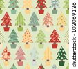 Seamless Christmas Tree Background in Festive Color scheme. Vector Version. - stock photo