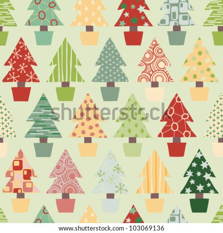 Seamless Christmas Tree Background in Festive Color scheme. Vector Version. - stock vector