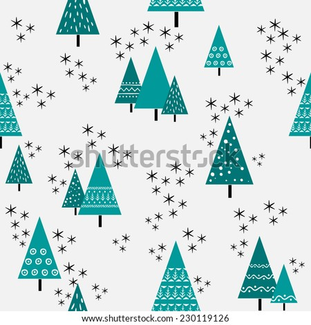 Seamless christmas tree pattern in flat style. Vector. - stock vector