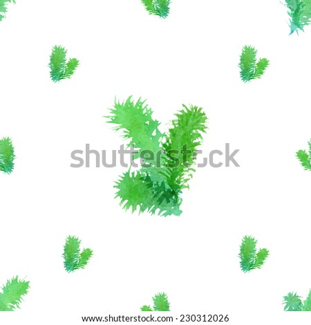 Seamless Christmas tree pattern. Watercolor branches of evergreen tree on white background. Vector illustration.