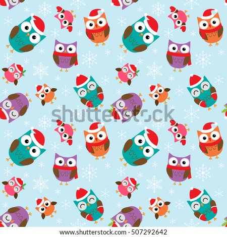 Seamless Christmas vector pattern with cute colorful owls