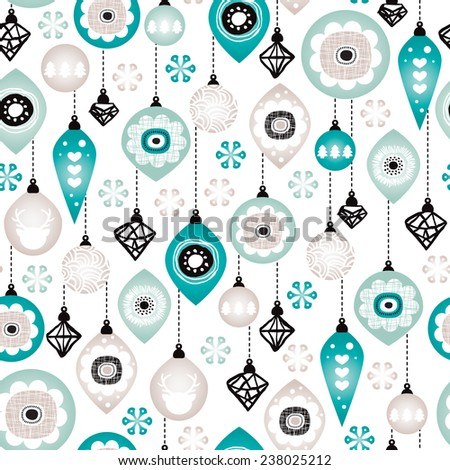 Seamless christmas winter blue ornaments and decoration illustration background pattern in vector - stock vector