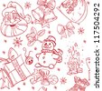 Seamless Christmass background doodles in red color - stock vector
