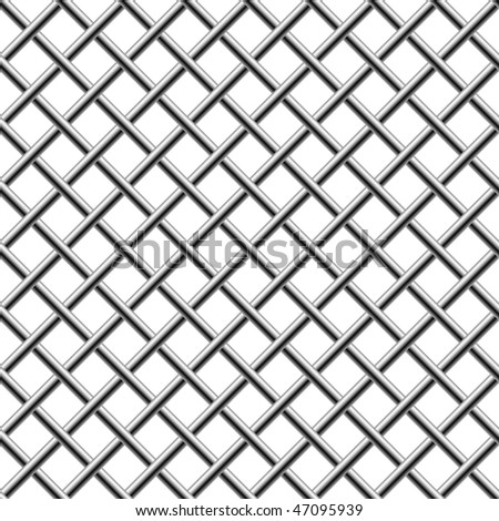 Seamless chrome braided diagonal grill isolated on white. - stock vector