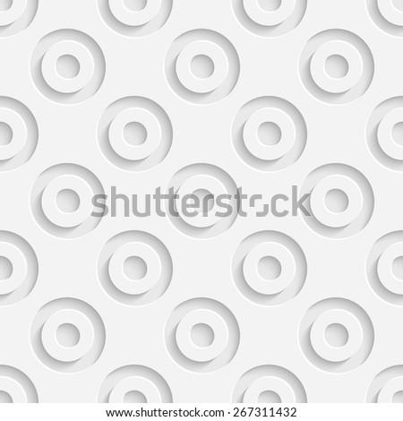 Seamless Circle Pattern. Vector Geometric Background. Regular White Texture - stock vector