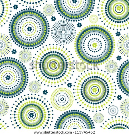 Seamless circle with green - stock vector