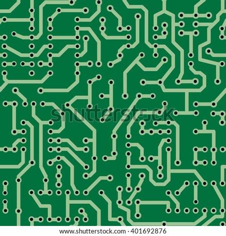 Seamless circuit board pattern green - stock vector