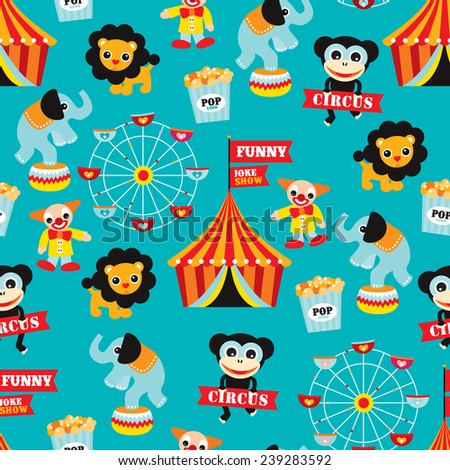 Seamless circus animals carnival fun fair illustration kids background pattern in vector - stock vector