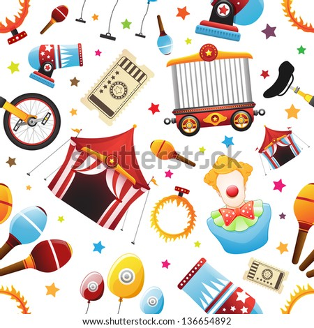 Seamless Circus Icon Pattern - stock vector