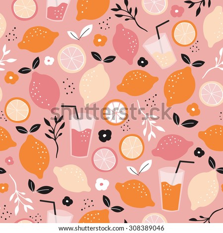 Seamless citrus fruit orange juice mocktail lemonade illustration backgrounf pattern isolated on white in vector - stock vector