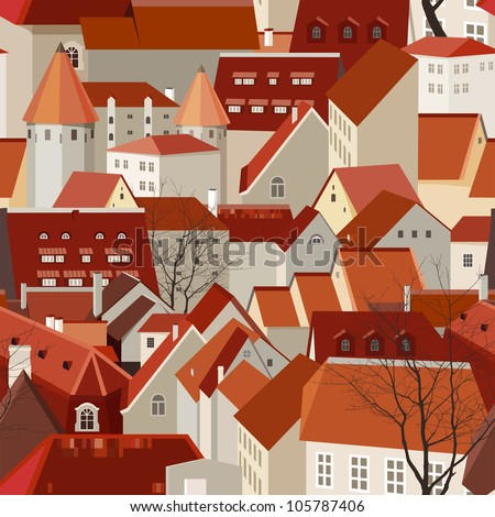 Seamless city landscape with tile roofs - stock vector