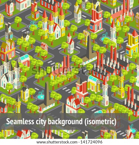 Seamless city pattern in vector (isometric) - stock vector