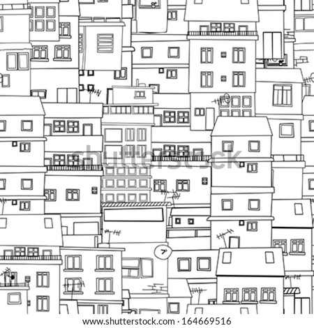 Seamless city sketch in black and white - stock vector