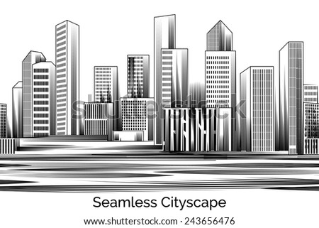 Seamless Cityscape Engraving. Business city of skyscrapers and offices Engraving. Vector illustration - stock vector