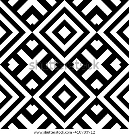 Seamless classic geometric pattern with abstract shapes. Striped monochrome artistic  vector illustration for design. Simple  black and white wrapping with rhomb and cross. - stock vector