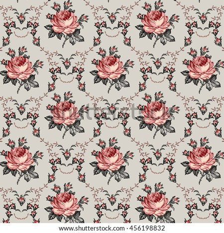 Seamless classic pattern. Beautiful pink isolated flowers textile. Vintage background realistic blooming floral. Rose Drawing engraving freehand. Wallpaper baroque Vector victorian style Illustration. - stock vector
