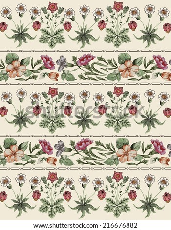 Seamless classic pattern. Carnation. Beautiful brown baroque flowers. Vintage background with blooming flowers. Border. Drawing, engraving. Freehand. Wallpaper. Vector victorian style Illustration.