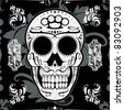 Seamless Classical Skull Vector Background - stock vector