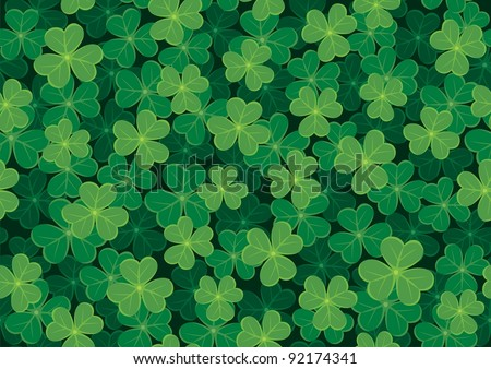 Seamless clover tile. Place them together to create a larger background. No transparency and gradients used. - stock vector