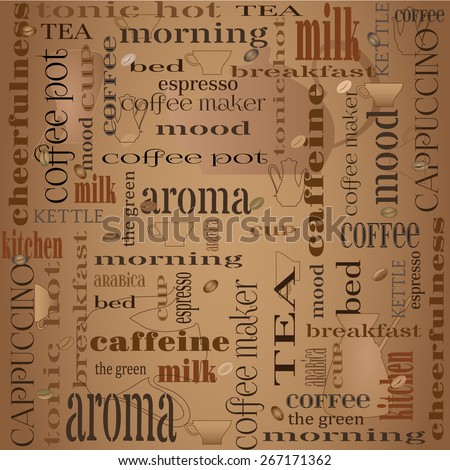Seamless coffee background design with different typographic fonts and images. Vector illustration .