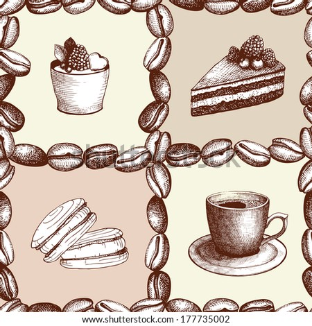 Seamless coffee background with hand drawn elements isolated on white - stock vector