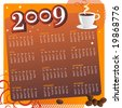 Seamless Coffee Calendar 2009. (Editable) For more illustrations VISIT MY GALLERY. - stock vector