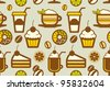 Seamless coffee shop pattern with grey background. - stock vector