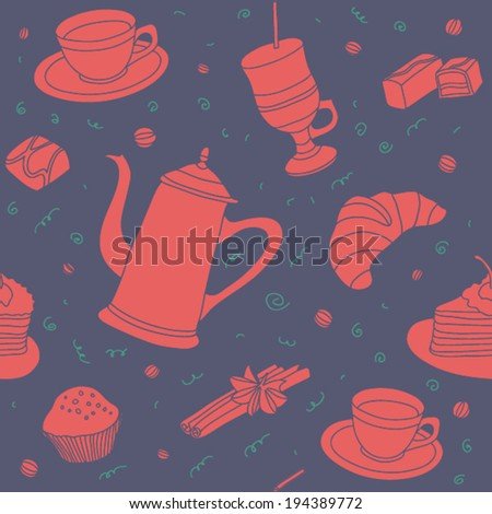 Seamless coffee time vector pattern with sweets, cup coffee, piece of cake and coffee beans.  - stock vector