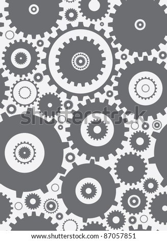 seamless cogs repeat pettern - monochrome
