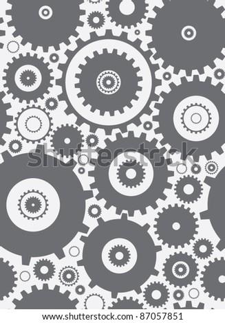 seamless cogs repeat pettern - monochrome - stock vector