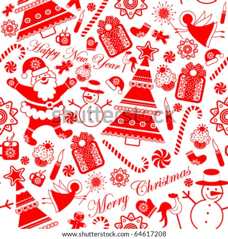 Seamless Collection Stylized Christmas Elements - stock vector