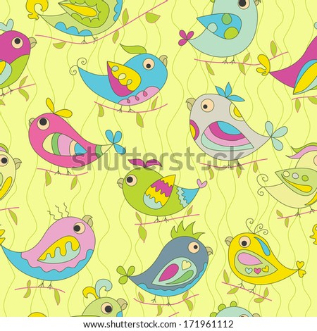 Seamless color background. Image parrots. Bright spring colors. The yellow background. green wavy line.  - stock vector