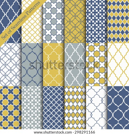 Seamless color backgrounds collection. Set of tile and lattice patterns.Blue and yellow vector illustrations. - stock vector