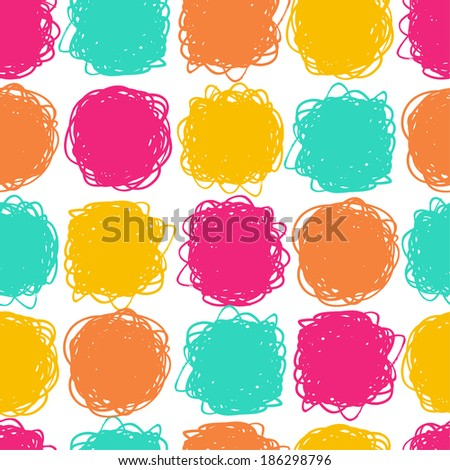 Seamless color hand drawn pattern. Vector illustration