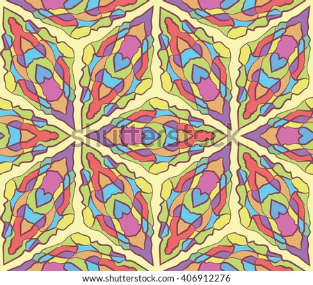 seamless color pattern of stained glass - stock vector