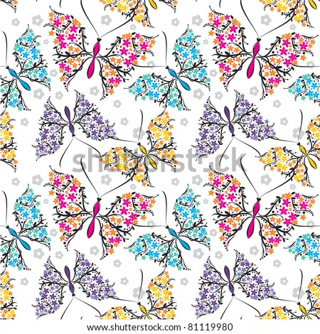 seamless color pattern with butterfly - stock vector