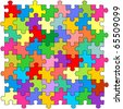 Seamless color puzzles background - stock vector