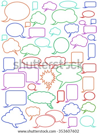 Seamless color speech bubbles outline background