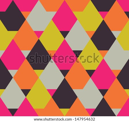 Seamless color vector geometric pattern - stock vector