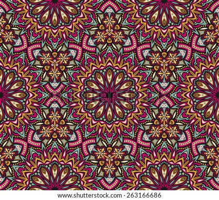 seamless colorful abstract eastern detailed vector abstract pattern - stock vector