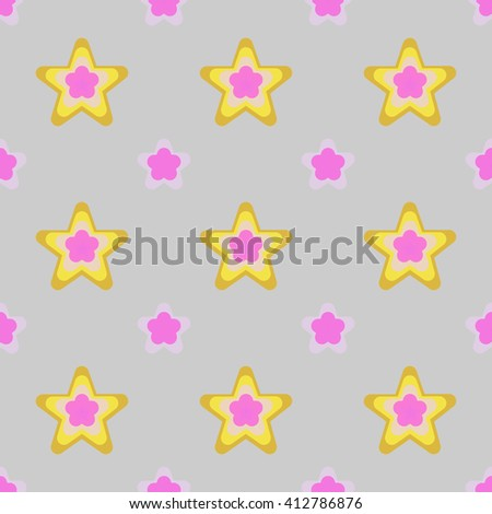 Seamless colorful abstract flower pattern created from circle and ellipses