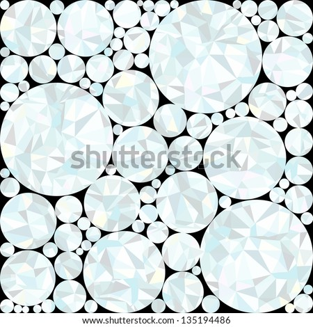 Seamless colorful abstract round crystal background. Vector illustration with triangles. Retro background with snowball. Eps 8 - stock vector