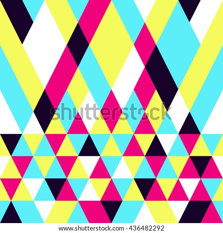 Seamless colorful abstract triangles pattern. Retro background of geometric shapes. Bright modern mosaic backdrop. Vintage triangle ornament. Creative cover, decorative elements. Vector illustration.  - stock vector