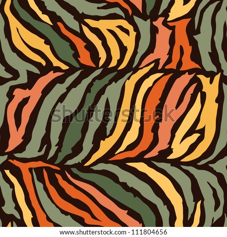 Seamless colorful animal skin texture of zebra - stock vector