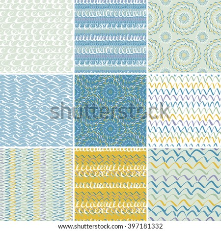 Seamless colorful artistic expression vector patterns.