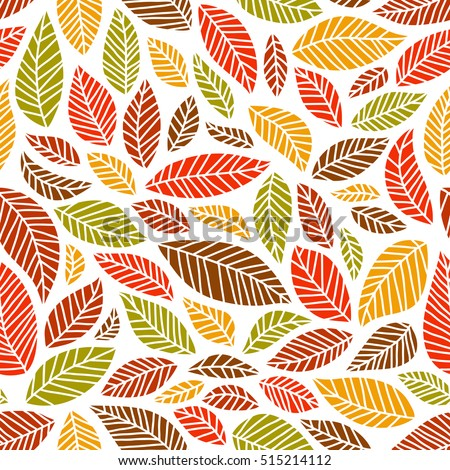 Seamless, colorful autumn leaves pattern on white background, square format.